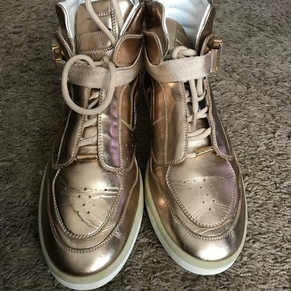 Louis Vuitton Women's Gold Leather High Tops